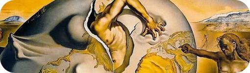 """Detalle de """"Geopolítica de un niño mirando el nacimiento de un hombre nuevo"""" de S. Dalí"""