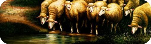 """Detalle del óleo """"Rebaño de ovejas en el abrevadero"""""""