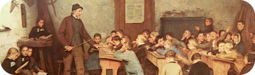 """Detalle de """"Escuela de pueblo"""" de Albert Anker"""