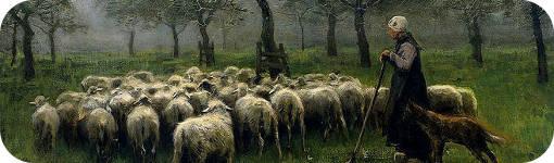 "Detalle ""Pastora con rebaño de ovejas"" de Juan C. Boveri"