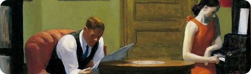 "Detalle de ""Room in New York"" de Edward Hopper"